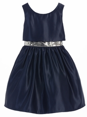 CLEARANCE - Navy Satin w/ Sequin Waist Trim Dress