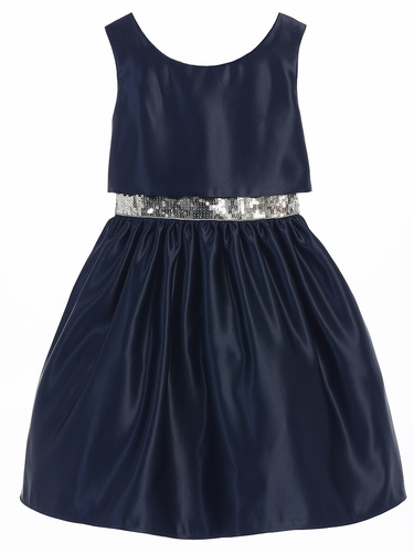 Navy Satin w/ Sequin Waist Trim Dress
