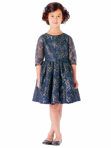 Navy Sequin Lace w/ Gold Leaf Print