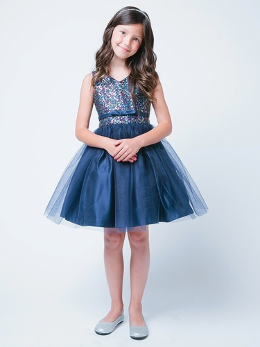 Navy Sequin Tulle Party Dress