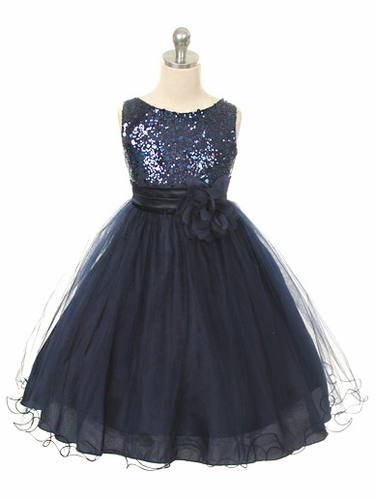 Navy Sequined Bodice w/ Double Layered Mesh Dress