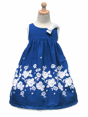 US Angels Navy Sleeveless Empire dress w/ Embroidered Skirt