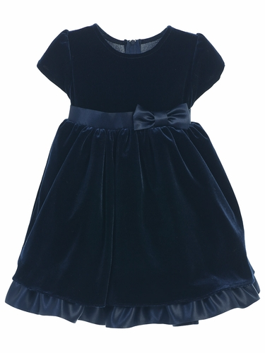 Navy Stretch Velvet Holiday Baby Dress