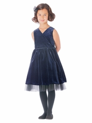 CLEARANCE - Navy Stretch Velvet & Tulle Holiday Dress
