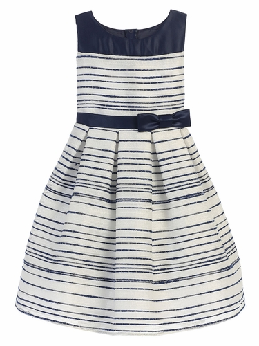 Navy Striped Woven & Satin Dress