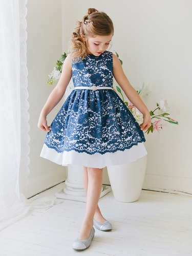 Navy Taffeta Dress w/ Flower Lace Overlay