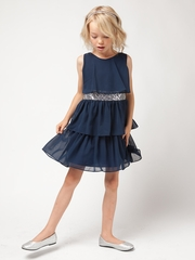 Navy Tiered Chiffon Dress w/ Sequins Belt