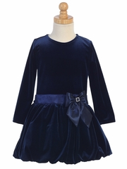 Swea Pea & Lilli Navy Velvet Bubble Dress w/ Glitter Trim & Bow