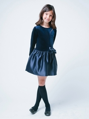 Navy Velvet & Satin Drop Waist Dress