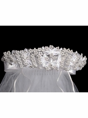 "24"" White Veil w/ Beaded Floral & Rhinestones w/ Satin Bows on Back"