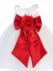 "1 �"" Satin Ribbon Sash w/ Bow & Flower"