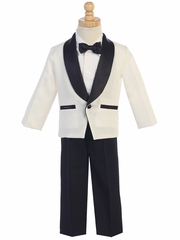 Ivory Dinner Jacket w/ Black Pants 4 PC Tuxedo