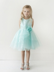 Aqua Organza Layered Dress w/ Crystal Beading