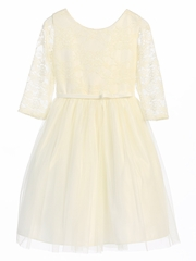 Off White 3/4 Lace Sleeve Ballerina Dress