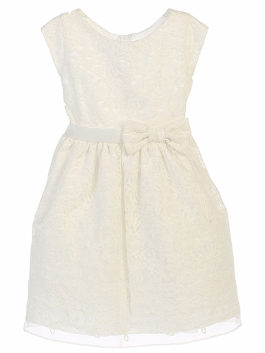 Off White Bouquet Embroidered Organza Dress
