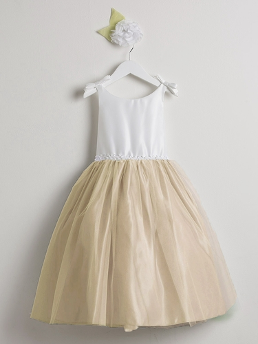 Off White & Champagne Double Bow Satin & Tulle Dress