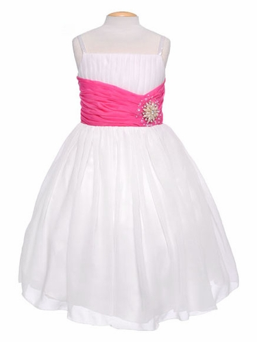 Off-White Chiffon Pleat & Pearl Dress w/ Fuchsia Sash