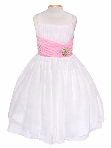 Off-White Chiffon Pleat & Pearl Dress w/ Pink Sash