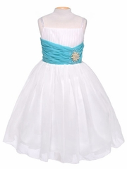 Off-White Chiffon Pleat & Pearl Dress w/ Turquoise Sash
