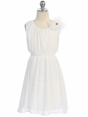 Off-White Chiffon Pleated Dress