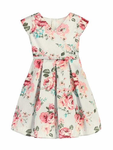 Off White Floral Crossover Dress