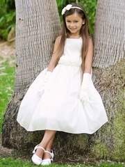 Off-White Flower Girl Dress - Taffeta Dress w/ Flower Cummerbund