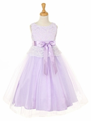 CLEARANCE - Lilac Stretch Lace Bodice w/ Double Tulle Over Charmouse