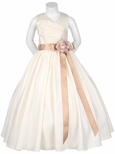 Ivory Matte Satin V-Neck w/ Detachable Sash & Flower