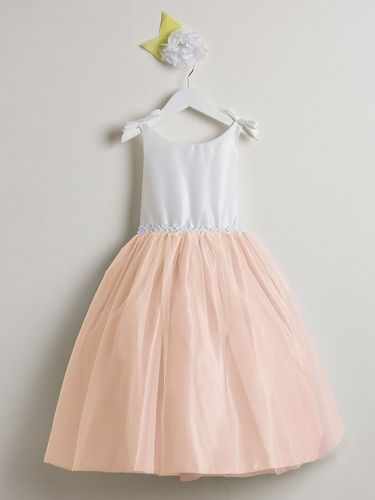 Off White & Pink Double Bow Satin & Tulle Dress