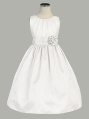 Off-White Pleated Solid Taffeta Dress w/ Hand Rolled Flower