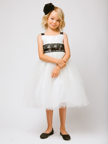 Off-White Satin & Tulle Lace Dress