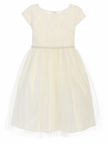 Off White Sequin Embroidered Lace w/ Tulle Dress
