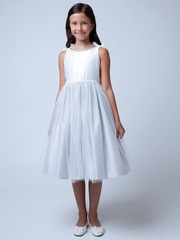 Off White & Silver Double Bow Satin & Tulle Dress