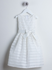 Off-White Striped Organza Flower Girl Dress