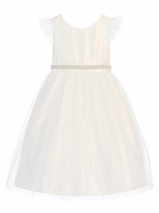 CLEARANCE - Off White Tulle Dress w/ Flutter Sleeve