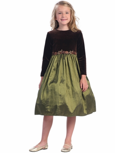 Olive Stretch Velvet Long Sleeve w/Taffeta Skirt