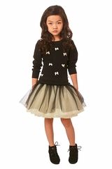 Ooh! La La! Couture Black / Champagne Little Bows Dress