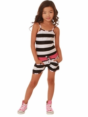 Ooh! La La! Couture Black & White Stripe Romper