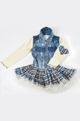 Ooh! La La! Couture Blue Plaid Denim Twirly Dress