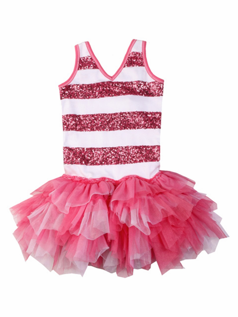 Ooh la la couture candy pink white sequin stripe dress for La couture clothing