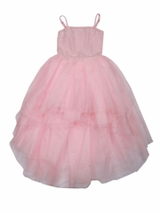 CLEARANCE - Ooh! La La! Couture Crystal Kylee Pink High Low Dress