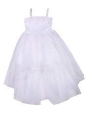 Ooh! La La! Couture Crystal Kylee White High Low Dress