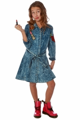CLEARANCE - Ooh! La La! Couture Denim Patches Swing Dress