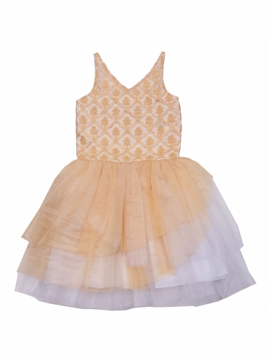 Ooh! La La! Couture Honey/ White WOW V-Neck Dress
