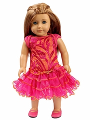 """Ooh! La La! Couture Hot Pink & Orange Embroidered Tulle 18"""" Doll Dress"""
