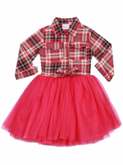 Ooh! La La! Couture Hot Pink Plaid Button Up Shirt Dress