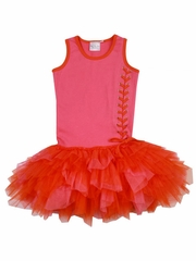 Ooh! La La! Couture Pink & Orange Lace Up Dress