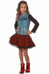 Ooh! La La! Couture Red/Black Plaid Denim Twirly Dress