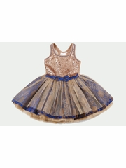CLEARANCE - Ooh! La La! Couture Royal Blue/Rose Gold Sequin Tie Bow Dress