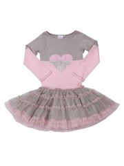 Ooh! La La! Couture Silver/ Pink Parfait Split Heart Dress
